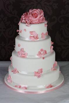 Pink Rose and Petals, Wedding Cake