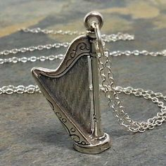 Harp Necklace - 925 Sterling Silver - 3D Orchestra Instrument Charm Jewelry NEW $18