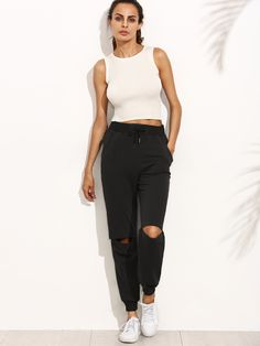 Shop Cutout Knees Tapered Leg Joggers online. SheIn offers Cutout Knees Tapered Leg Joggers & more to fit your fashionable needs.