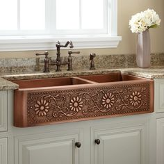 Sunflower Offset Double Well Farmhouse Copper Sink - Antique Copper - Kitchen Sinks - Kitchen - Fox Home Design Copper Farmhouse Sinks, Farmhouse Sink Kitchen, Rustic Kitchen, New Kitchen, Modern Farmhouse, Copper Sinks, Copper Farm Sink, Kitchen Cabinets, Primitive Kitchen