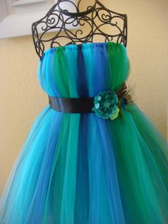 Peacock tutu dress multi colors