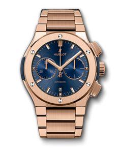Hublot Classic Fusion, Blue Chronograph King Gold Bracelet