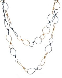 "Amanda Sterett ""Jolie"" Oxidized Silver and Gold Necklace"