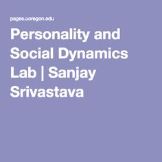 Personality and Soci