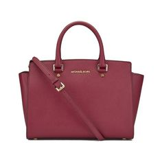 MICHAEL MICHAEL KORS Women's Selma Large Top Zip Satchel - Cherry (€440) ❤ liked on Polyvore featuring bags, handbags, red satchel handbags, red leather satchel, leather satchel purse, handbags totes and leather purse