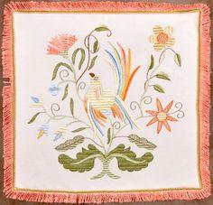 The Bird Vain with Leaves - Silk Embroidery - Bordado de Castelo Branco