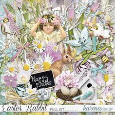 Easter Recipes, Happy Easter, Digital Scrapbooking, Rabbit, Kit, Shop, Collection, Design, Happy Easter Day