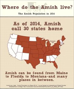 Do Amish live in your state? Amish call 30 states home as of 2014.  View the full infographic at http://amishamerica.com/2014-amish-population-infographic/