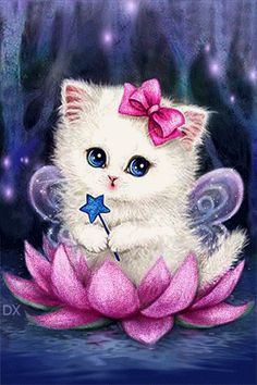 Cartoon Cat - Easy DIY Diamond Painting Kits - OwlCube - Diamond Painting by Numbers Cute Kittens, Cats And Kittens, Animals And Pets, Cute Animals, Art Mignon, Kitten Cartoon, Kitten Images, Image Chat, Cat Gif