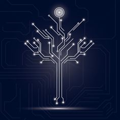 Tree design on circuit board background vector graphic Circuit Tattoo, Circuit Board Design, Design Innovation, Electronic Gifts For Men, Illustrations Vintage, Vintage Logo, Tech Art, 2 Logo, Technology Design