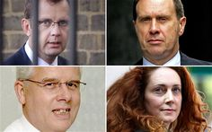 (Clockwise from top left) Andy Coulson, Clive Goodman, Rebekah Brooks and John Kay