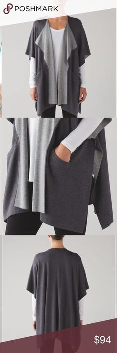 LULULEMON - Asana Wrap grey In Heathered Dark Carbon / Heathered Medium Grey, this super soft wrap will be your go-to layer in and out of the studio. Boolux™ Boolux™ fabric is a blend of cashmere, TENCEL® and rayon from bamboo super soft lululemon athletica Jackets & Coats