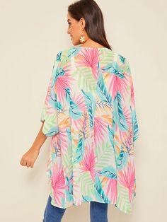 Kimono avec imprimé | SHEIN Plus Size Kimono, Kimono Jacket, Beachwear For Women, Leaf Prints, Long A Line, Half Sleeves, Sleeve Styles, Fashion News, Girly