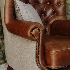Tudor Leather Armchair with Chesterfield style button-back detail & tweed wool fabric elements