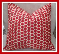 Decorative pillow cover 16x16 Waverly Seeing Spots, throw pillow, toss pillow in red and ivory white, housewares. $20.00, via Etsy.