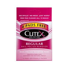 Cutex's Nail Polish Remover Pads are the quickest, most effective option for removing nail polish, as well as conditioning nails and cuticles in one step. The patented formula is designed to remove polish faster. Each felt pad is individually wrapped and removes polish from ten nails, fingers and toes. Contains Bitrex, ingestion detergent.
