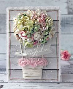 Elegant Hand Made Mothers Day Card - shabby chic and cute !