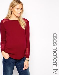 ASOS Maternity Sweater with Sheer Mesh Insert