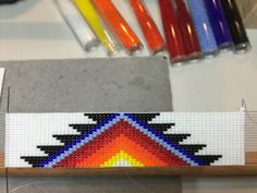 Stepped Triangle Native American Design Beaded Hat Band