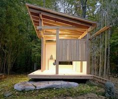 The Darling Teahouse This stunning, minimalist teahouse is in Stoney Creek, Connecticut.  Designed by architect Naomi Darling, it features local and recycled materials to achieve a simple elegance. The stone came from a local quarry, while bamboo was harvested on-site.  The roof is made of recycled metal.""