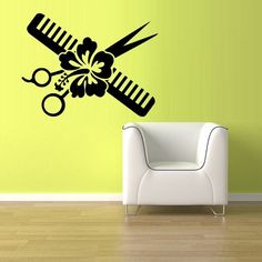 Wall Vinyl Sticker Decals Decor Haircut scissors comb flower hair salon (z863)