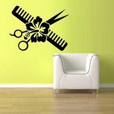 Wall Vinyl Sticker Decals Decor Haircut scissors comb flower hair salon (z863)