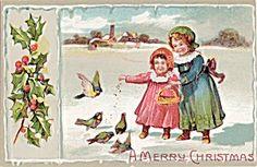 Germany Christmas Postcard Feeding the Birds