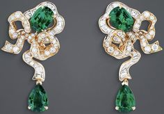 "DIOR. ""Fontange Émeraude"" earrings in yellow gold, diamonds and emeralds. #DIOR…"