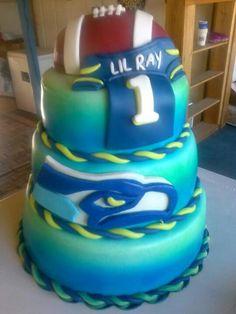 Seattle Seahawks fondant cake I made