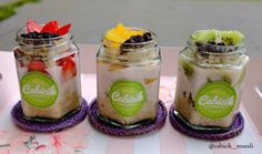 Introducing 3 variant flavours of @cabicik_muesli . . Overnight Oats Strawberry  Overnight Oats Peach  Overnight Oats Kiwi  . Price per jar Rp.40,000.- Minimum order 2 jars Hexagonal jar 250ml  For order please SMS/WA: 0877.8267.3086