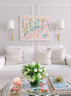 Beautiful, bright, white, pastels. Living room. Gold details. Classic Glam: Rooms from our House Tours