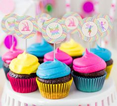 Rainbow Fairy Party Circles/Cupcake Toppers - INSTANT DOWNLOAD - Editable