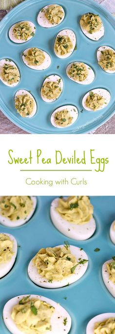 These Sweet Pea Deviled Eggs are the perfect, quick appetizer for any occasion or family gathering cookingwithcurls.com In partnership with Del Monte #10MinuteWow #ad