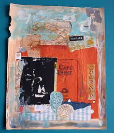 create a travel journal collage with papers & scraps from your trip