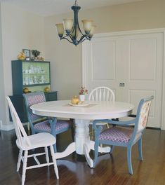 I've got to get my hands on a round kitchen table. Love love love the mismatched chairs! Kitchen Chairs, Dining Room Table, Table And Chairs, A Table, Dining Chairs, Blue Chairs, Arm Chairs, Refurbished Furniture, Upcycled Furniture