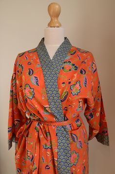 f171964867 ivory- -green-block-print-robe - from Natural Bed Company