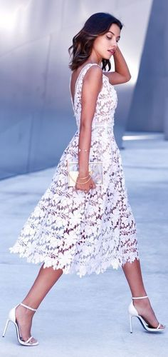 Chic White Lace Midi Dress: