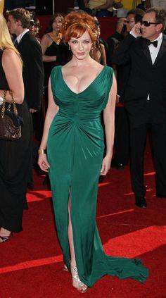 Christina Hendricks in green.