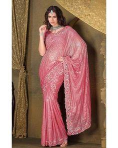 Pleets Sari Bollywood Latika - Rose argenté