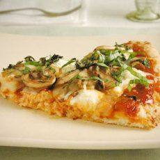 Three-Cheese Pizza with Mushrooms and Basil