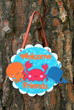 Under the Sea Creatures Door Sign Welcome Friends. $12.00, via Etsy.