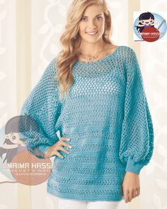 Crochet Kingdom (E.H):  Peekaboo-Back Tunic with loose-fitting dolman sleeves (size S - 3X) includes written patten. -Free-