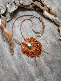 """Items similar to Necklace """"NATIVE AMERICAN Inspired"""" Calfskin, Chrysoprase stone, Bronze apprets, Crow beads on Etsy Leather Art, Leather Pouch, Art Du Cuir, Crea Cuir, Handmade Leather Jewelry, Native American Crafts, Medicine Bag, Boho Bags, Beaded Bags"""