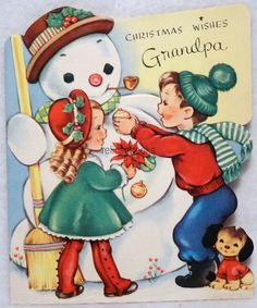 #915 50s Building a Snowman, Vintage DIE-CUT Christmas Card-Greeting