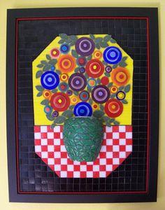 Mosaic pot of flowers