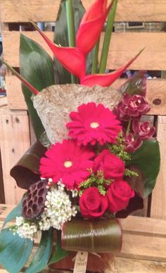 This weeks bold red corporate arrangement with tropicals, gerberas and roses for the Lake Cafe at Varsity Lakes, made by Twigs Florist Corporate Flowers, Lakes, Rose, Shop, Pink, Roses, Ponds, Store