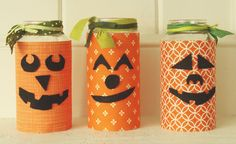 pumpkin jars by Just Make Stuff for Spooktacular September - recycled glass jars - Halloween decorations