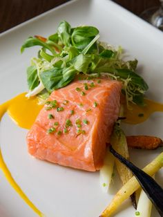 Slow Roasted #Salmon with roasted baby carrots, white asparagus, Mache salad & Meyer lemon beurre blanc