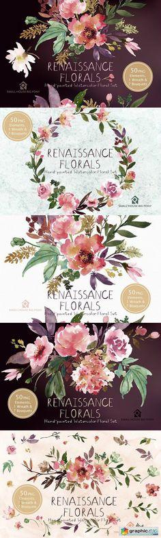 Renaissance Florals  Watercolor Set  stock images
