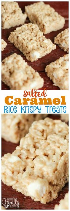 Salted Caramel Rice Krispie Treats take your traditional Rice Krispie treats to a whole new level. You will love the gooey caramel and the hint of salt! via Favorite Family Recipes